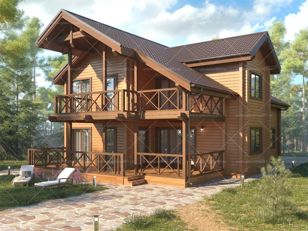 дома из бруса с балконом фото популярный
