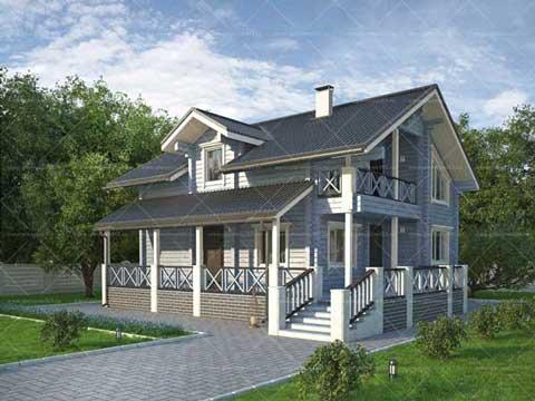 Брусовой дом с мансардой