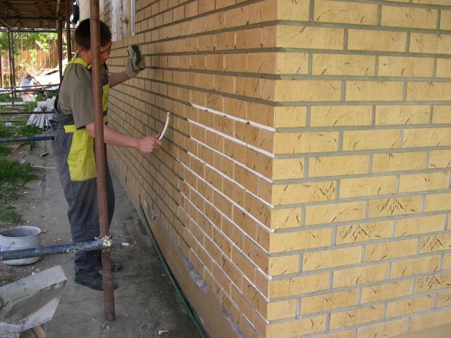 монтаж клинкерных панелей швы