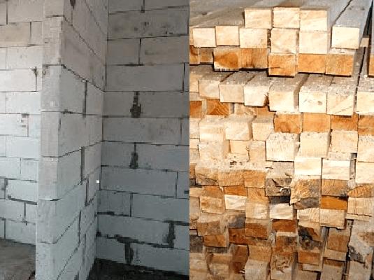 Наглядное сравнение бруса и газобетона