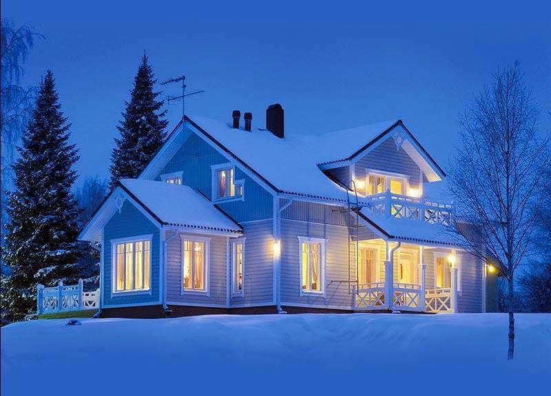 каркасный дом в зимний период