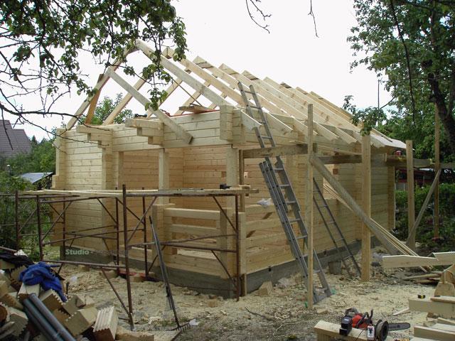 строительство бани из бруса с террасой 6х8 метров