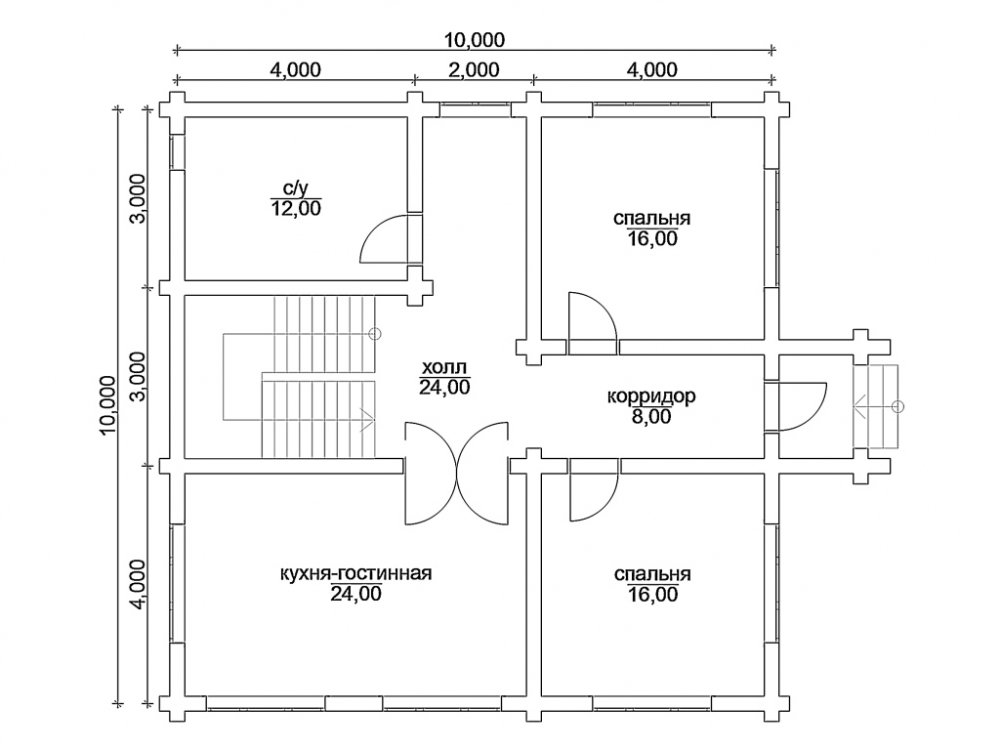 план дома из бруса 10х10