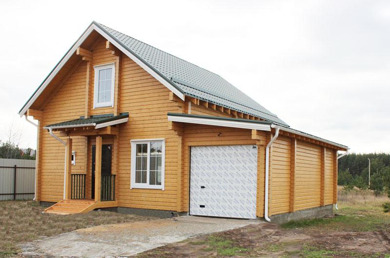дом из бруса с гаражом