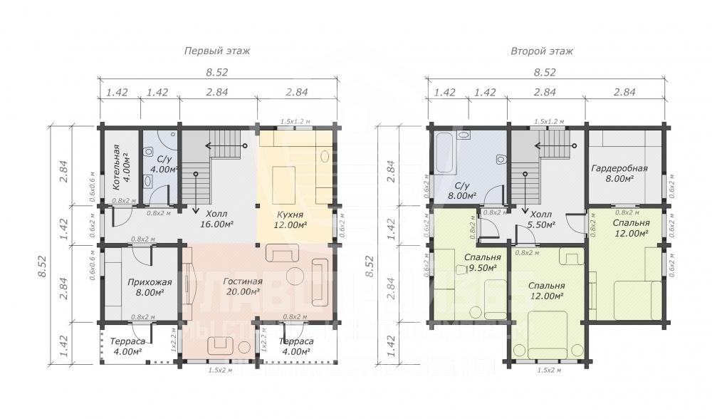 план дома из бруса с большими панорамными окнами