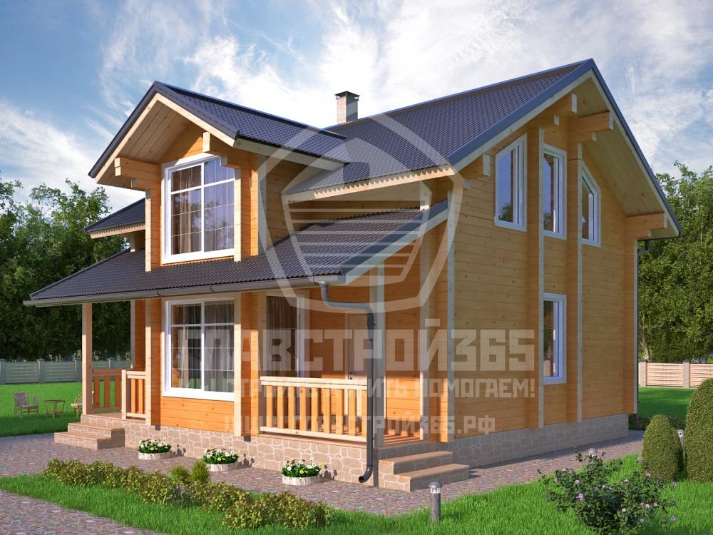 проект дома из бруса с большими панорамными окнами