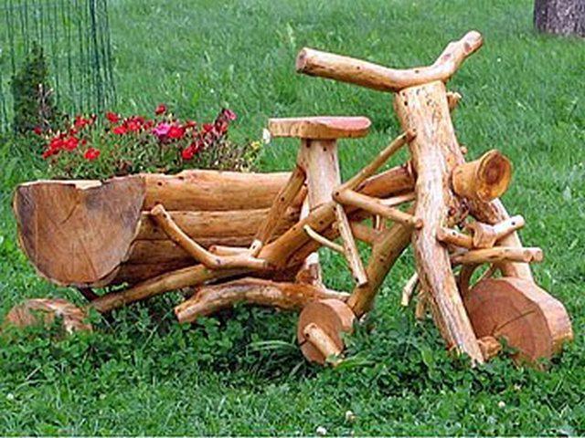 Мотоцикл деревянный для дачи