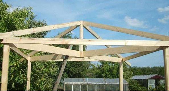 Стропильная система деревянной беседки