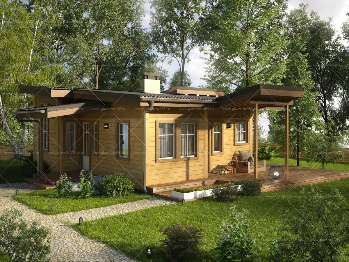 Одноэтажный каркасный дом с террасой – тепло, красиво, уютно