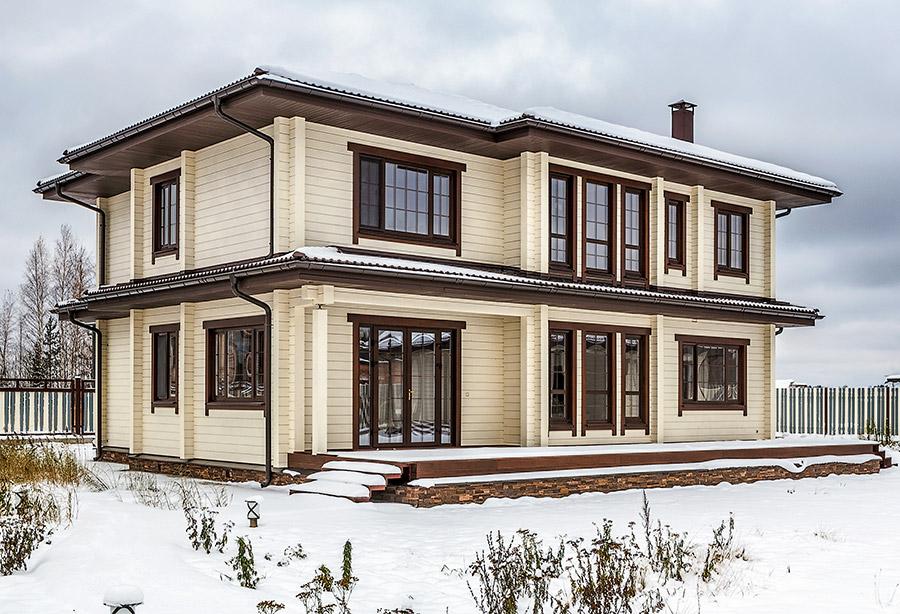 двухэтажный жилой дом из клееного бруса