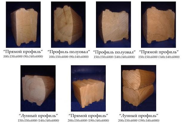 Варианты сечений профилированного бруса разных геометрических форм