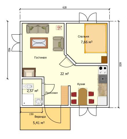 Планировка каркасного домика