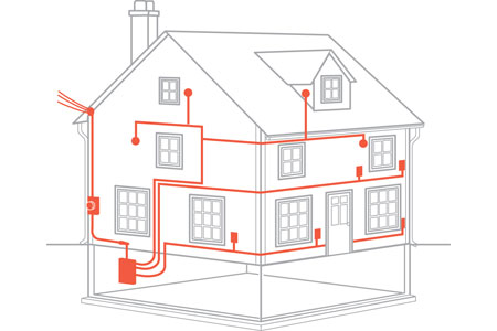 схема прокладки кабеля в доме